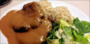 Hamburger Steak with Rice and Salad