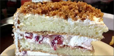 Slice of Strawberry Crunch Cake