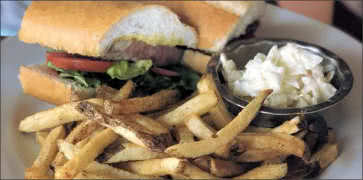 Italian Steak Sandwich with Coleslaw and Fries