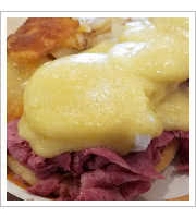 Corned Beef Benedict at Mannys Deli