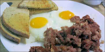 Rye Toast, Eggs and Hash Breakfast