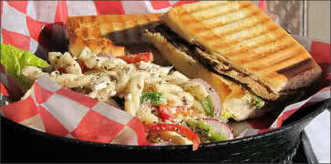 Grilled Eggplant Panini with Pasta Salad