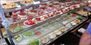 Combination Salad and Dessert Counter