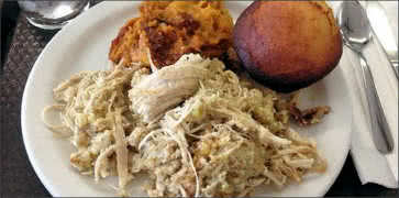 Shredded Turkey Dinner with Sweet Potatoes and Corn Bread