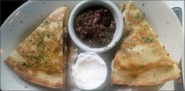 Quesadilla Appetizer with Sour Cream and Salsa Dip