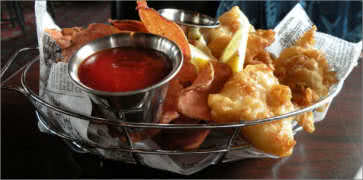 Fish and Chips with Tomato Dip